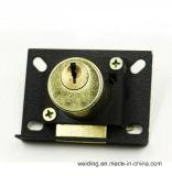 Serratura d'ottone del cassetto dell'oggetto d'antiquariato della mobilia del metallo
