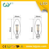 Vela ligera del filamento C37 4W E27 3000k LED