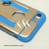 iPhone 7のための卸売によってブラシをかけられる効果の金属の携帯電話の箱