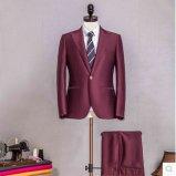 최고 160s 100%Wool 관례 2 단추는 접어젖힌 옷깃 호리호리한 적합 남자 한 벌을 뾰족해진다