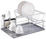 шкаф тарелки 2-Tier с держателем Cutlery & доской Drainer