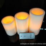 Vela sin llama amarilla del pilar de la cera de las baterías LED con teledirigido