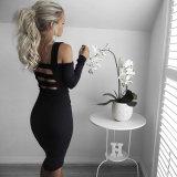 Schwarzes heißes reizvolles Backless Isolationsschlauch-Brücke Bodycon dünnes Kleid 2016
