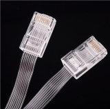 de alta resistencia transparente de Ethernet RJ45 del 1.5m del cable Cat5e UTP del cable plano retractable de la red para el recorrido de asunto del cuaderno