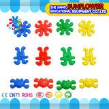 Kind-Plastiktischplattenspielzeug-Karikatur-Gesichts-Bausteine