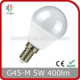 G45 E14 E27 Mini Golf Round Plastic Aluminum Epistar SMD2835 270 Degree 400lm 5W LED Globe Bulb