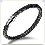Bracelet de cuir de bijou de cuir de bijou d'acier inoxydable (LB030)