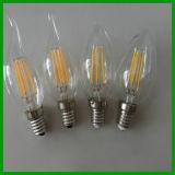 Bulbo cheio desobstruído E12 do filamento do diodo emissor de luz do vidro E14 2W