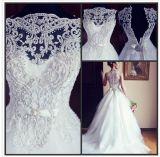 Pérolas estratificados Tulle A do vestido nupcial do laço - linha vestido de casamento A128