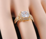 18k Platinum/anello di fidanzamento di Yellow Gold Plated Zircon (CRI0016-B)