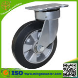 6inch旋回装置の頑丈な緑PUの車輪の足車