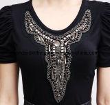 La mode des femmes perlant autour du T-shirt de Hotsale d'été de cou
