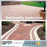 Камень красного гранита сада вымощая с запылали/хонингованными поверхностями для пола/настила