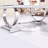 Esszimmer-moderne Edelstahl-Bein-Marmorspitzentisch