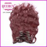 O cabelo humano Remy de 100% grampeia o cabelo