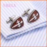 Botão de punho de madeira vermelhos franceses à moda 128 do aço inoxidável do Rosewood da camisa de VAGULA