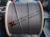 304巻き枠ごとのパッキング2000mが付いているA2 1.4301 7X7 3mmのステンレス鋼ワイヤーロープ