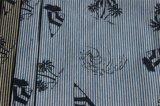 Denim à rayures avec imprimé couleur pour jupe et tee-shirt
