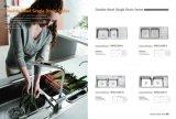 Dissipador, dissipador de cozinha do aço inoxidável, bacia dobro, com bandeja, Wda12050-E