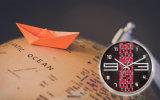 Horloge rouge et noire en métal de 12 pouces de quartz de mur