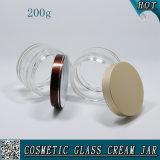 착색한 알루미늄 뚜껑을%s 가진 크림 콘테이너가 200ml 장식용 명확한 유리에 의하여 거슬린다