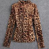 여자 불균형 지퍼 표범 상단을%s 면 폭격기 재킷