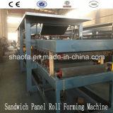 Linha da maquinaria do painel de sanduíche do painel de lãs do uso EPS/Rock do painel do telhado e de parede