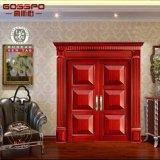 木の表玄関デザイン木製の二重外部の出入口(GSP1-001)