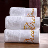 La alta calidad bordó la toalla de baño 100% del algodón de Terry