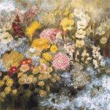Peinture à l'huile colorée de fleurs de triptyque d'art moderne de toile d'articles