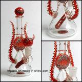 Amerikanisches Farben-Rod-Glas, das '' buntes Rohr des Wasser-9 mit drei Löchern Perc in der KLEKS Wachs-Verbindungs-Größe raucht