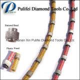 고무 플라스틱에 의하여 소결된 구슬 다이아몬드 철사는 절단 화강암 대리석 콘크리트를 보았다