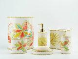 Peinture à la main tropical Décalque de main Accessoires en céramique pour salle de bain