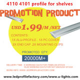 Bevordering 4101, 4110 LEIDEN Profiel $1.99/M met het Profiel van het Aluminium en de Dekking van PC voor het Licht van de Strook van Planken