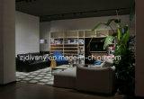 El sofá moderno del hogar del sofá del cuero del negro del estilo fijó (D-74D+B+E)