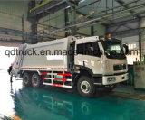 FAW vuilnisauto, de persvrachtwagen van het huisvuilafval, de vrachtwagen van de huisvuilpers