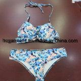 Bkue festes Druckenreizvoller Beachwear-Bikini für Frauen-Mann/Mädchen, Schwimmen-Abnützung