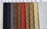 Couro sintético para sapatas, vestuário do plutônio do teste padrão quadrado colorido, mobília, decoração (HS-Y32)