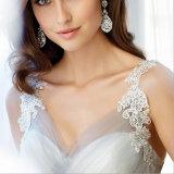 China Custom Made Branco Vestido de Noiva Tulle 2016