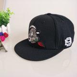 黒6のパネルの綿3Dの刺繍の急な回復の帽子の平らな縁の帽子