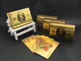 cartões de jogo plásticos do póquer do ouro 24k