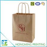Preiswerter kundenspezifischer Packpapier-Beutel Firmenzeichenbrown-