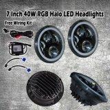 7 '' Scheinwerfer-Halo-DRL H/L kompatible LED Lampe des RGB-LED Träger-Engels-Auge Bluetooth des Steuerfür JeepWrangler