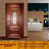Porta de vidro da madeira contínua da inserção da cozinha (GSP3-001)