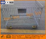 Envase de la paleta del acoplamiento de alambre de acero para el almacenaje del almacén con los casquillos y las ruedas