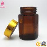 Fabrik-Großverkauf-bernsteinfarbiger breiter Mund-pharmazeutische Glasverpackenflasche mit goldener Überwurfmutter
