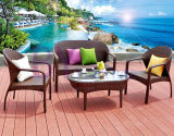 Combinazione esterna del giardino del balcone della villa dell'hotel di Tabella e di presidenze del rattan del rattan Sofa/PE del PE