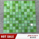 Mosaico autoadesivo de vidro da piscina verde do banheiro 25*25