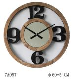 自然な木製の黒い番号大きい第12/3/6/9ミラーが付いている切り取られた柱時計