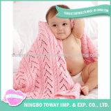 Couverture tricotée par bébé mou sûr de laines de qualité